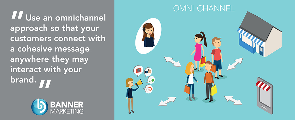 An illustration featuring the customer in the center showing how omni-channel marketing affects them at different touchpoints.